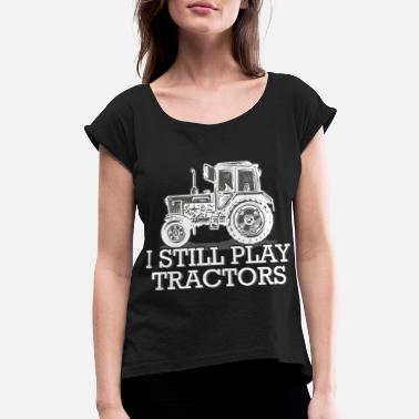 Trecker Tractor Shirt Gift Cool Farmer Trecker Farmer - Women's Roll Cuff T-Shirt