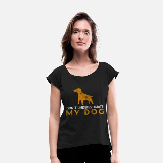 Retro T-Shirts - Dog pet friend companion gift - Women's Rolled Sleeve T-Shirt black