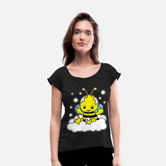 Greenpeace T-Shirts - Baby Bee Maja Insect Wild Bee Animal Gift - Women's Rolled Sleeve T-Shirt black