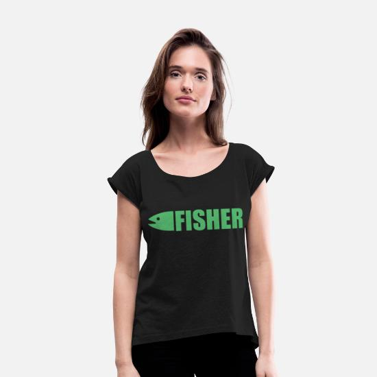 Fishing Rod T-Shirts - Fisherman - Women's Rolled Sleeve T-Shirt black