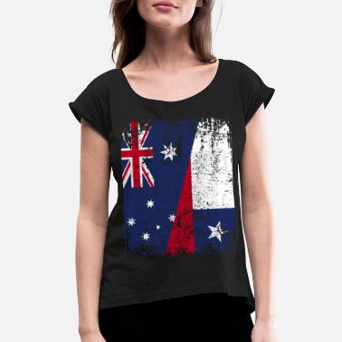 Chilean AUSTRALIA CHILE FLAG - Half Chilean - Women's Roll Cuff T-Shirt