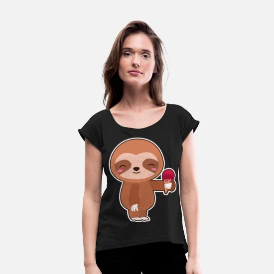 Pet T-Shirts - Ice Cream Sloth Summertime Cute Animals Wildlife - Women's Rolled Sleeve T-Shirt black