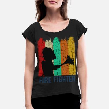 Marshall Retro Style Vintage Firefighter Cool Silhouette - Women's Rolled Sleeve T-Shirt