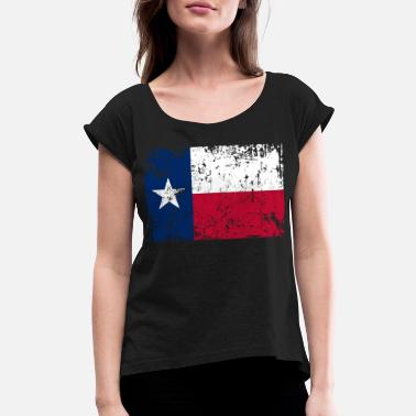 Gift For Vintage Texas Texas Flag Vintage Retro Distressed - Women's Rolled Sleeve T-Shirt
