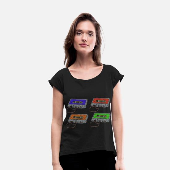 Music Is Life T-Shirts - Cassettes music cassettes - Women's Rolled Sleeve T-Shirt black