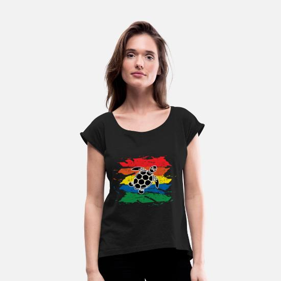 Gift Idea T-Shirts - turtle - Women's Rolled Sleeve T-Shirt black