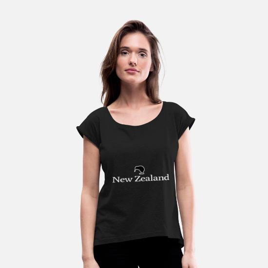 Country T-Shirts - New Zealand Auckland - Women's Rolled Sleeve T-Shirt black
