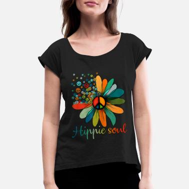 Soul Daisy Peace Sign Hippie Soul Flower Lovers - Women's Rolled Sleeve T-Shirt