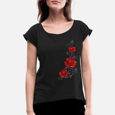 Rose Tendril with red roses and leaves - Women's Rolled Sleeve T-Shirt