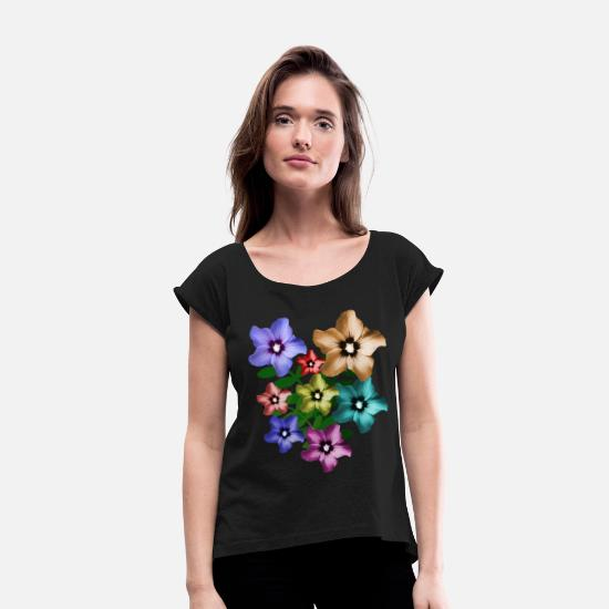 Floral T-Shirts - Garden hibiscus, hibiscus, bunch of flowers - Women's Rolled Sleeve T-Shirt black