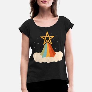 Retro Rainbow Pentagram Witch Wicca Pastel Goth - Women's Rolled Sleeve T-Shirt