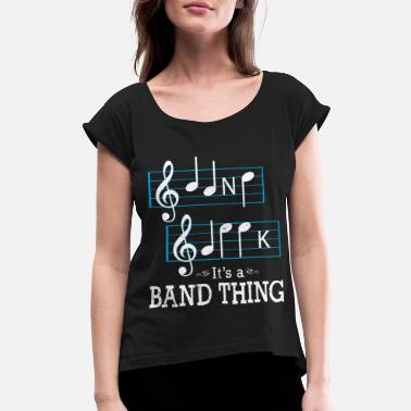 3729b467 Musicians Band Geek Music Notes Spelling Funny - Women's Rolled Sleeve T.  Women's Rolled Sleeve T-Shirt