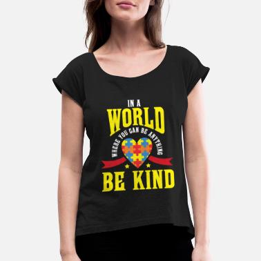 Spectrum Autism Awareness Kindness Puzzle - Women's Rolled Sleeve T-Shirt