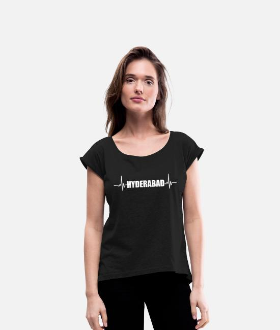 Ahmedabad T-Shirts - Ahmedabad Hyderabad India - Women's Rolled Sleeve T-Shirt black