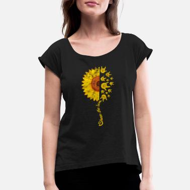 Finger ASL Sign Language Sunflower Share The Love Vintage - Women's Rolled Sleeve T-Shirt
