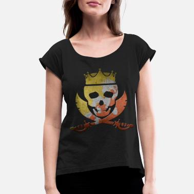 Bhutan Flag Bhutan - Women's Roll Cuff T-Shirt