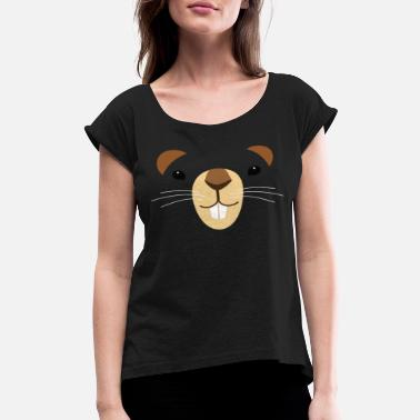 Rodent Groundhog eyes Mouth Ears GroundHog Day Design - Women's Rolled Sleeve T-Shirt
