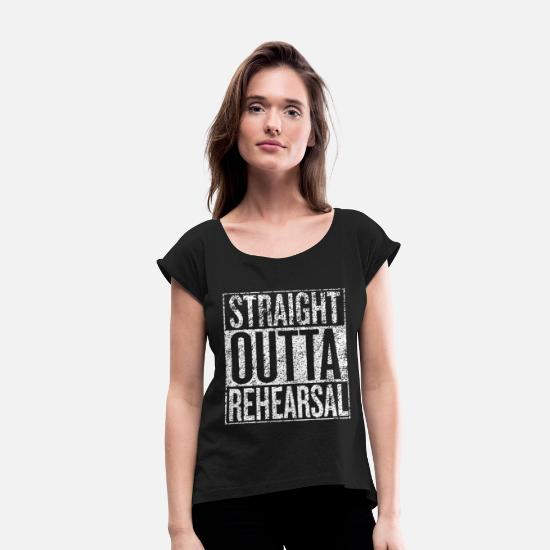 Musical T-Shirts - Broadway Musical Theatre Broadway Play Musical The - Women's Rolled Sleeve T-Shirt black