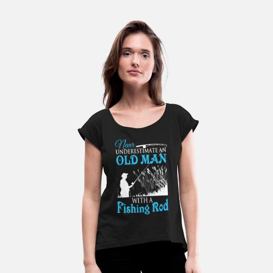 Fishing Rod T Shirt T-Shirts - Fishing Rod T Shirt - Women's Rolled Sleeve T-Shirt black