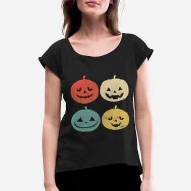 Pumpkin Vintage Pumpkin T Shirt Funny Pumpkin Halloween Gi - Women's Rolled Sleeve T-Shirt