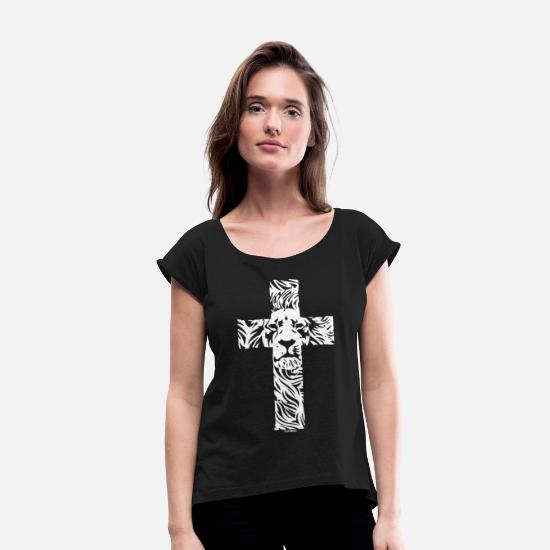 561519dfd Lion T-Shirts - Lion Cross Religious Christian Rasta - Women's Rolled  Sleeve T-