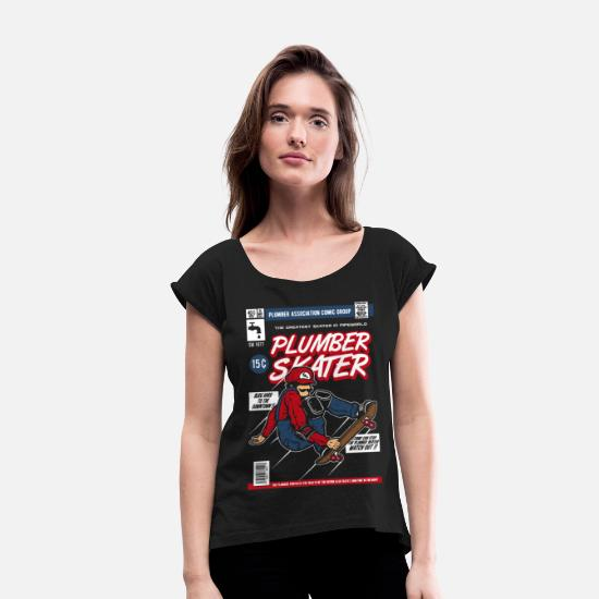 Longboard T-Shirts - Comic Book Cover Skater - Women's Rolled Sleeve T-Shirt black