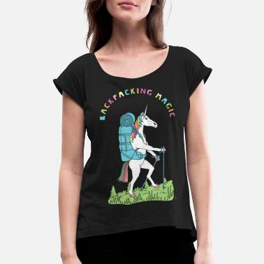 Backpacker Unicorn Backpacking Magic Unicorn Outline - Women's Roll Cuff T-Shirt