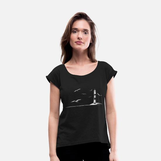 Lighthouse T-Shirts - Seagulls lighthouse sea shore beach peaceful gift - Women's Rolled Sleeve T-Shirt black