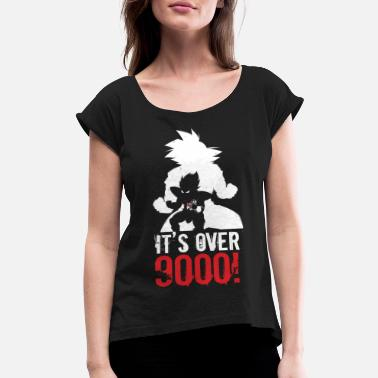 It's Over 9000 super saiyan goku and vegeta it's over 9000 - Women's Roll Cuff T-Shirt