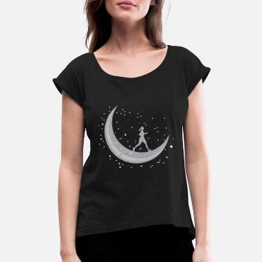 Moon Moon Girl Running Space Science Giftidea - Women's Rolled Sleeve T-Shirt