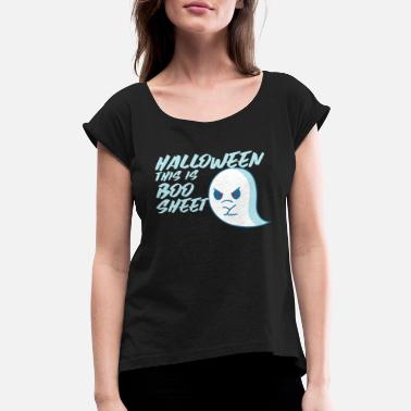 Vegan Halloween This Is Boo Sheet - Women's Rolled Sleeve T-Shirt