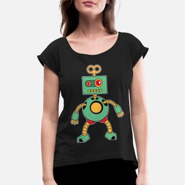 Toddler Robot robot toy mechanical awesome machine gift idea - Women's Roll Cuff T-Shirt
