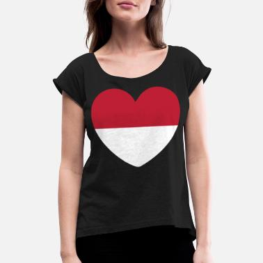 City STYLISH INDONESIA FLAG DESIGN - Women's Rolled Sleeve T-Shirt