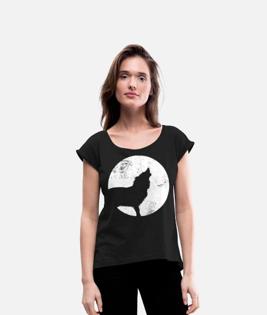 Full Moon T-Shirts - Wolfpack - Women's Rolled Sleeve T-Shirt black