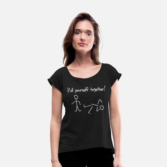 Stick T-Shirts - Stick figures - Stick Figures. Pull Yourself Tog - Women's Rolled Sleeve T-Shirt black
