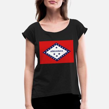 State Flag Arkansas State Flag - Women's Rolled Sleeve T-Shirt