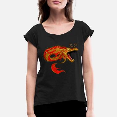 dragon asia chinese - Women's Rolled Sleeve T-Shirt