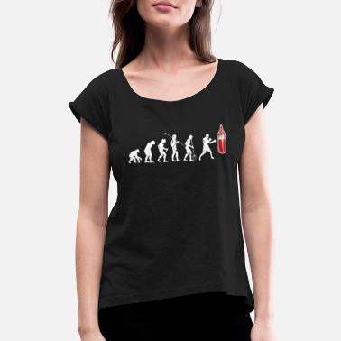 Man Boxing Evolution - Women's Rolled Sleeve T-Shirt