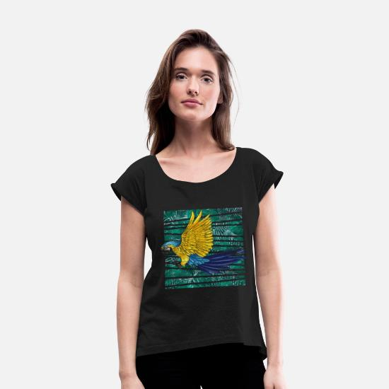 Feather T-Shirts - Parrot Animal Welfare - Women's Rolled Sleeve T-Shirt black