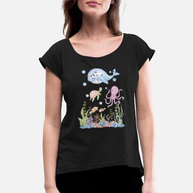 Aquarium Fish Sea Creature - Women's Rolled Sleeve T-Shirt