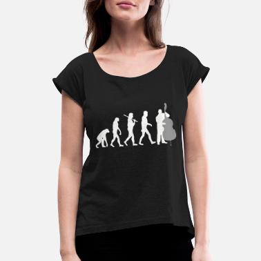 Double Bass Instrument Double bass - Double Bass Player Evolution Funny - Women's Rolled Sleeve T-Shirt