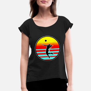 Beach Volleyball Volleyball Style volleyball on the beach - Women's Rolled Sleeve T-Shirt