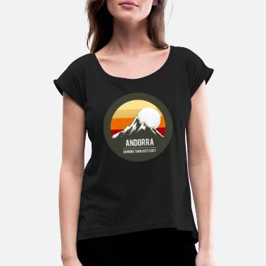 Catalan Designs mountains retro andorra pyrenaeen - Women's Rolled Sleeve T-Shirt