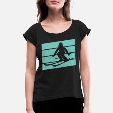 Skies Skiing Winter Lover - Women's Rolled Sleeve T-Shirt
