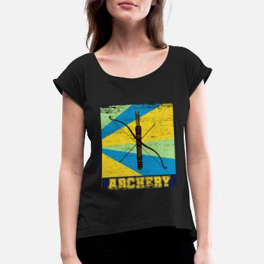Direct Hit Archery Hobby Bow Quiver Vintage - Women's Roll Cuff T-Shirt