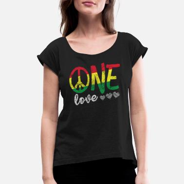 One Love T Shirt Rasta Reggae Men Women Kids Gift - Women's Rolled Sleeve T-Shirt