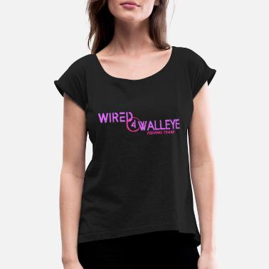 Wired4walleye Pink on Purple Logo - Women's Roll Cuff T-Shirt