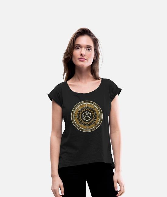 Board Game T-Shirts - Polyhedral D20 Dice Mandala Tabletop RPG - Women's Rolled Sleeve T-Shirt black