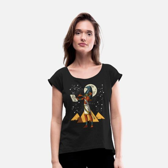 Ancient T-Shirts - Egyptian God Thoth Ancient Mythology Pyramids - Women's Rolled Sleeve T-Shirt black