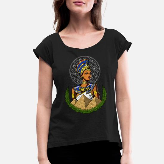 Egyptian Queen Nefertiti Ancient Mythology Women's Rolled Sleeve T